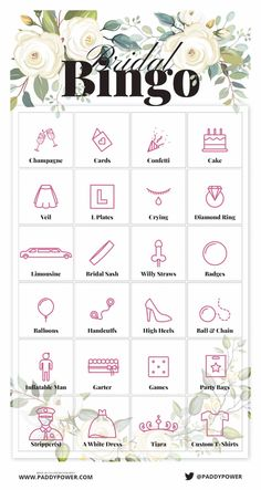 Bridal Bingo - Free Hen Party Games to Print off and Play now Hen Party Bags, Hen Party Gifts, Bridal Bingo, Bridal Shower Games, Wedding Bingo, Hen Night Ideas, Classy Hen Party Ideas, Hens Night Games, Hen Ideas