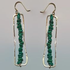 Turquoise Gold Bar Earrings