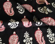 Check out Pure Cotton, Indian Fabric, Block Print Style, Decorative Paisley, Red Black and White, Printed Border on one edge, sewing cloth on fiberstofabric