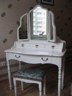 Купить Туалетный столик с тремя зеркалами - белый, туалетный столик, трюмо, трельяж, прованс