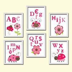 Colorful Ladybug Alphabet Artwork Set of 6 Prints Wall Baby Decor Abstract Art Bedroom Picture Child Crib Nursery