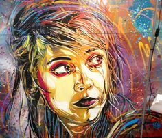Perfect abstract color works of Woman by artist C215, France | No. 110