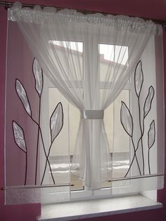 "Zestaw ""Pnącza II"" Beautiful Curtains, Cool Curtains, Window Curtains, Handmade Home Decor, Diy Home Decor, Room Decor, Window Accessories, Home Accessories, Curtains Childrens Room"
