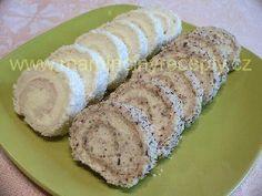 Oříškové a kokosové miniroládky – Maminčiny recepty Nutella, Sushi, Sausage, Rolls, Meat, Baking, Cake, Ethnic Recipes, Food