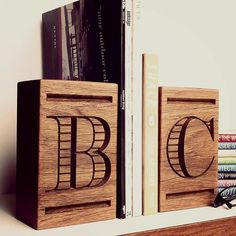 Personalised Hardwood Bookend/s, Home Decor, Library, Personalised Numbers and Letters, Timber Homewares, Bookends, Wedding, Corporate Gift,