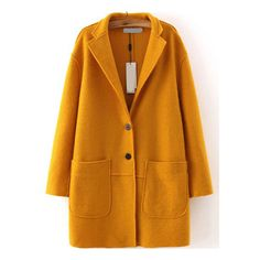 Lapel Single Breasted Pockets Yellow Coat (2.670 RUB) ❤ liked on Polyvore featuring outerwear, coats, jackets, coats & jackets, yellow, pocket coat, long brown coat, lapel coat, longline coat and single breasted coat
