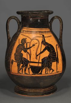 Rare Attic Black-Figure Pelike by the Plousios Painter, C. 520-510 BCThis is an important work of art as only four other vases are known by this painter. The same scene, with but slight variation in detail, decorates both sides of the vase. Two...