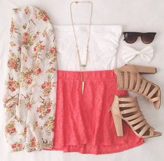 Pink / red skirt + white top