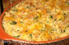 Broccoli and Cauliflower Casserole from Deep South Dish blog - a casserole made with fresh broccoli and cauliflower, in a simple butter roux-based white sauce made with The Trinity, a little cheese in the base, and topped off with those buttery crackers we all love so much... and a little more cheese.