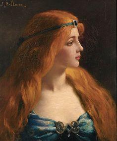 Portrait - Jules Frederic Ballavoine (French, I'm In Heaven Gabriel Rossetti, Redhead Art, Red Heads Women, Munier, John Everett Millais, Renaissance Paintings, Renaissance Portraits, Pre Raphaelite, Classical Art