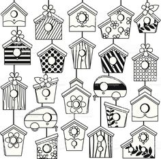Vector Set of Cute Line Art Birdhouses. Vector Set Of Cute Line Art Birdhouses stock vector art 506918375 . Bird Drawings, Doodle Drawings, Doodle Art, Bird Doodle, Colouring Pages, Coloring Books, House Doodle, Bujo Doodles, Draw