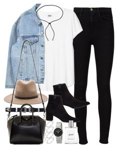 """""""Outfit for a day out with a denim jacket and jeans"""" by ferned ❤ liked on Polyvore featuring Frame Denim, ASOS, rag & bone, Stuart Weitzman, Givenchy, philosophy, Skagen and Lanvin"""
