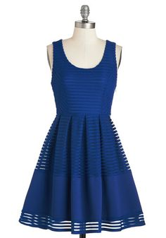 Fit to Party Dress - Blue, Solid, Cutout, Casual, A-line, Sleeveless, Woven, Short, Scoop