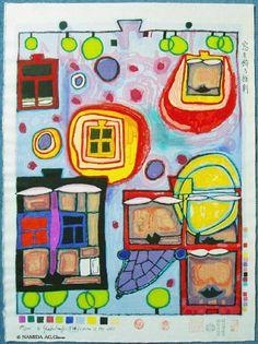 Reproduction de Hundertwasser, Fenêtre Droite. Tableau peint à la main dans nos ateliers. Peinture à l'huile sur toile.