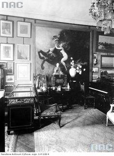 Salon w krakowskim mieszkaniu Feliksa Jasieńskiego, przed 1914, fotografia