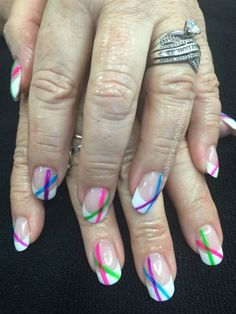 French With A Little Neon Colors by brenbrat from Nail Art Gallery