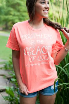 Southern By The Grace of God T-shirt Religious Shirt with Southern By The Grace of God by TheFlowerFairyShop on Etsy