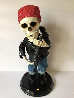 Gemmy Rocking Skeleton Sings La Grange ZZ Top Biker Harley Bandanna Jeans