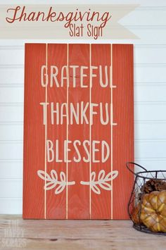 2014 Thanksgiving of thanksgiving wood sign with cute little leaf – grateful thankful blessed #2014 #thanksgiving