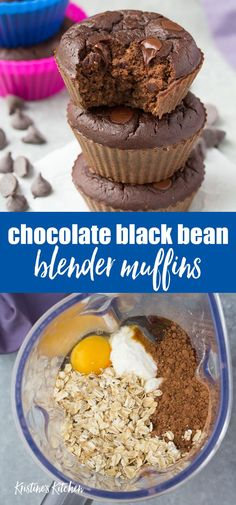 Healthy and high protein Chocolate Black Bean Blender Muffins! This easy recipe is gluten free and perfect for toddlers and families! These muffins are so moist! Made with cocoa powder oats and Greek yogurt. - Blender - Ideas of Blender High Protein Muffins, Healthy Muffins, Protein Powder Muffins, Chocolate Protein Muffins, Zucchini Muffins, Healthy Protein, Protein Bars, Chocolate Cupcakes, Greek Yogurt Muffins