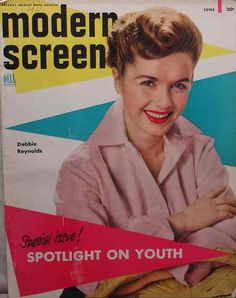 """Debbie Reynolds on the cover of """"Modern Screen"""" magazine, USA, June 1953."""