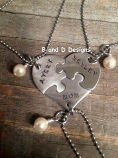 Mother Daughters Heart puzzle piece necklace  Back to School