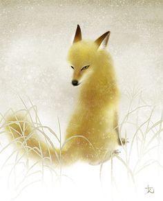 和風イラスト きつね 動物 日本画