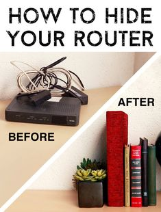 "Here's How To Hide Your Router - without damaging walls. Create an easy DIY faux book- within which the router ""hides. Hide Tv Cords, Hide Cables, Hide Wires, Hiding Cords, Hide Electrical Cords, Internet Router, Clever Diy, Easy Diy, Hide Router"
