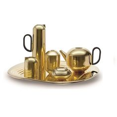 sugar bowl covered with spoon = $100 Tom Dixon Form Gold Tea ServiceTom Dixon Form Gold Tea Service