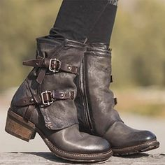 Vintage Shoes Women Vintage Buckle Boots Side Zipper Round Toe Plus Size Boots Buckle Ankle Boots, Biker Boots, Motorcycle Boots, Mid Calf Boots, Punk Boots, Leather Ankle Boots, Botas Hippy, Flat Boots, Shoe Boots