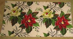 Vintage Barkcloth Christmas Magnolias in Red