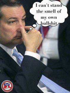 Cruz must smell his own BS. He would have to, it's so thick, I'm sure sometimes he doesn't know whether to wade through it or scuba dive....