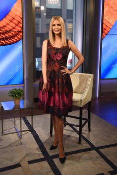 Ivanka Trump Print Dress - Ivanka Trump looked very prim and proper in a wine-colored floral frock while visiting 'Fox & Friends.'