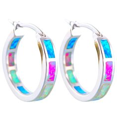 Oe610 Gorgeous Color Fire Opal Silver Hoop Earrings Anniversary Fashion Jewelry
