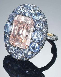 8.50 Carat Fancy Pink Diamond and Sapphire Ring