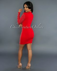 Sicily Red Gold Studded Long Sleeves Dress