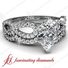 .70 Ct Pear Shaped Diamond Infinity Twist Engagement Wedding Rings Pave Set VS2 on eBay!