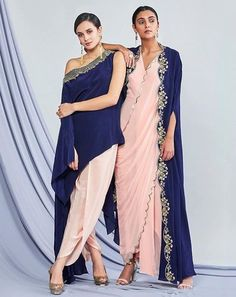 Beautiful Hand Embroidered Crepe-satin and silk Dresses with modern silhouettes. Western Dresses, Indian Dresses, Indian Outfits, Trendy Dresses, Casual Dresses, Fashion Dresses, Couture, Mode Wax, Sharara Designs