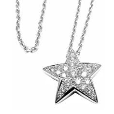 Chanel Comete Star Diamond White Gold Pendant Necklace | From a unique collection of vintage drop necklaces at https://www.1stdibs.com/jewelry/necklaces/drop-necklaces/