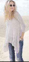 Схема вязания: Белый пуловер с асимметричным краем | Пуловеры спицами - petelka.net