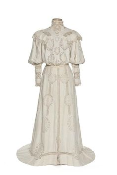 ~Garden Party Dress, France: ca. 1900, embroidered cotton and bobbin lace~