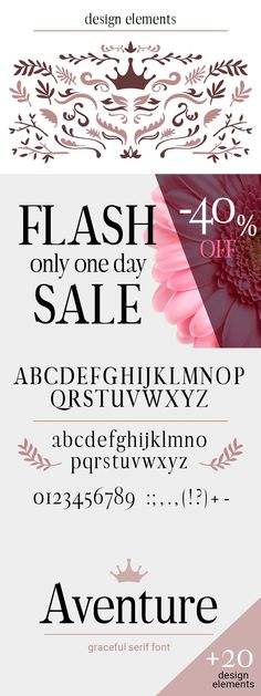 Aventure is a strong and elegant serif font. Beautiful and stylish, it is the perfect font for successful headers. The font is supplemented with decorative Best Serif Fonts, One Day Sale, Letters And Numbers, Lower Case Letters, Design Elements, Elegant, Beautiful, Elements Of Design, Classy