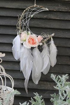 Feather and Rose Dream Catcher - Bohemian Baby Shower Ideas - Photos
