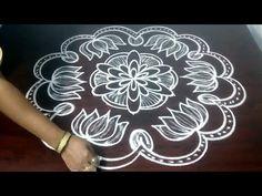 How To Draw Big Rangoli With Simple Dots 7 X 4 || Chukkala Muggu With Step By Step || Fashion World - YouTube