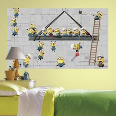 60 in. W x 36 in. H Minnions 2- Piece Peel and Stick Wall Decal Mural, Yellow