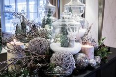 I love apothecary jars! Come by and see how I am using apothecary jars for Christmas decorating. They are so versatile and useful! Christmas Jars, Christmas Love, Christmas Ideas, Christmas Albums, Christmas Porch, Silver Christmas, Christmas 2017, Holiday Ideas, Christmas Dining Table