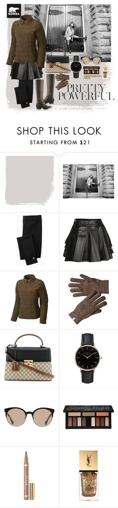 """Tame Winter with SOREL: Contest Entry"" by lilachupiel ❤ liked on Polyvore featuring SOREL, Kate Spade, Mairi Mcdonald, Gucci, Topshop, Balenciaga, Kat Von D, Yves Saint Laurent and sorelstyle"