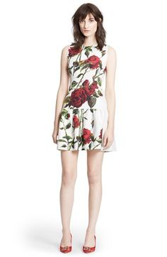 Dolce&Gabbana Rose Print Brocade A-Line Dress available at #Nordstrom