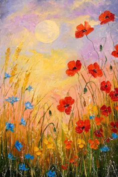 """Painting, """"Wild flowers in the moonlight"""" Saatchi Art Artist Olha Darchuk; Painting, """"Wild flowers in the moonlight"""" Saatchi Art Artist Olha Darchuk; Painting, """"Wild flowers in the moonlight"""" Simple Oil Painting, Lily Painting, Acrylic Painting Flowers, Acrylic Paintings, Oil Painting On Canvas, Paint Flowers, Paintings Of Flowers, Drawing Flowers, Poppies Painting"""