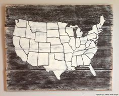 DIY United States Map Wall Décor Wooden Rustic Sign And Tutorial - Wood us map